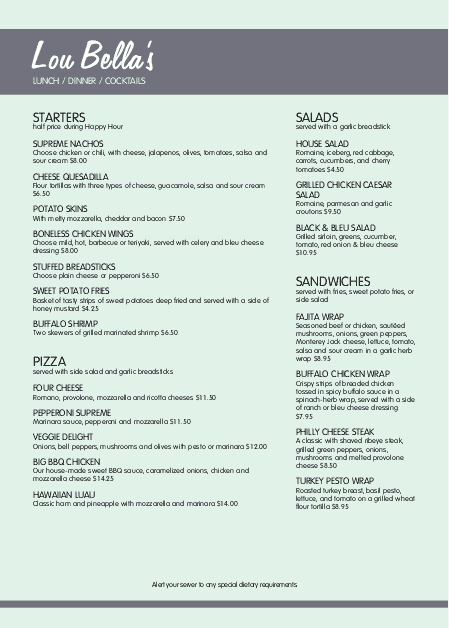 Customize A4 Fifties Diner Menu