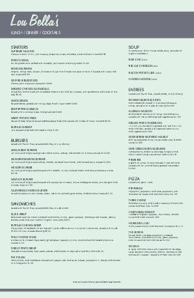 Customize Fifties Diner Tabloid Menu