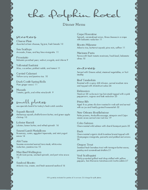 Customize 5 Star Hotel Menu