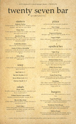 Customize American Beer Menu Long