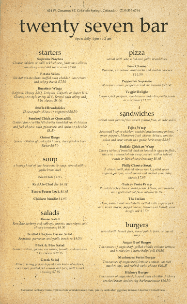 Customize American Beer Menu