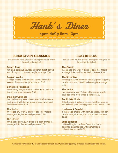 Superb American Breakfast Menu For Breakfast Menu Template