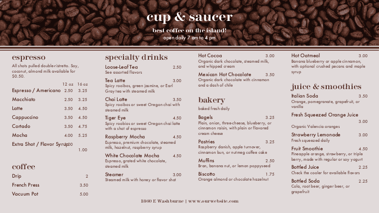 Customize Coffee Display Menu