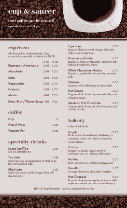 Customize American Cafe Menu