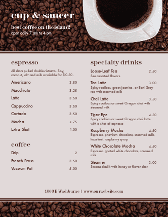 Customize American Cafe Coffee Menu