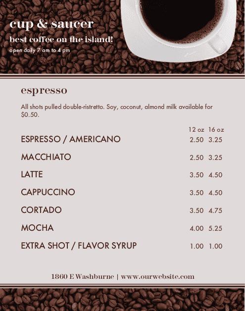 Customize American Cafe Menu Poster