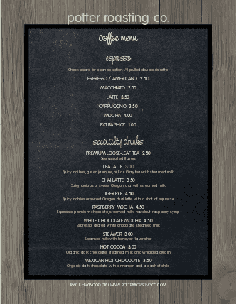 Customize American Coffee Menu