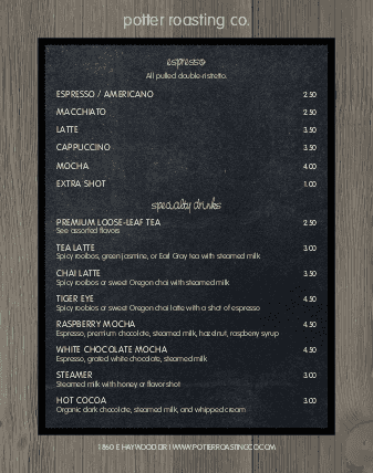Customize Coffee Menu Poster