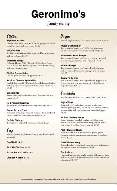 Customize American Food Menu Long