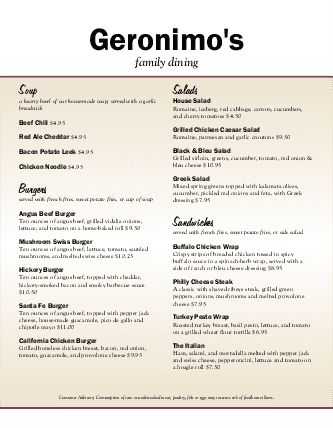 Customize American Food Menu
