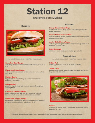 Customize American Lunch Menu Template