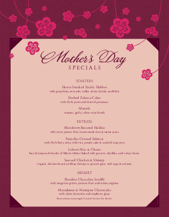 Customize American Mothers Day Menu