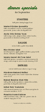 American Style Daily Specials Menu