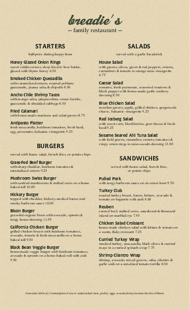 Customize American Style Menu Long