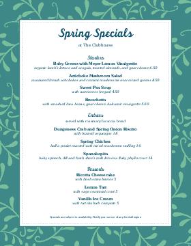 April Spring Specials Menu