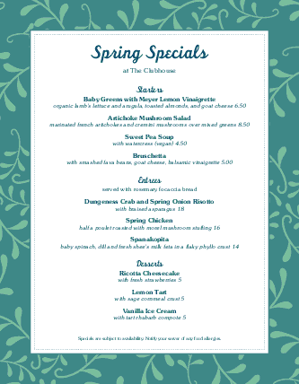 Customize April Spring Specials Menu
