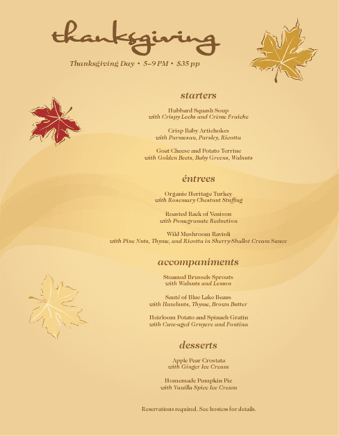 Customize Autumn Dinner Menu