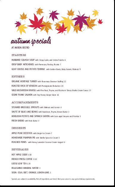Customize Autumn Menu Specials