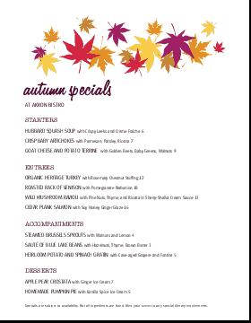 Autumn Menu Specials