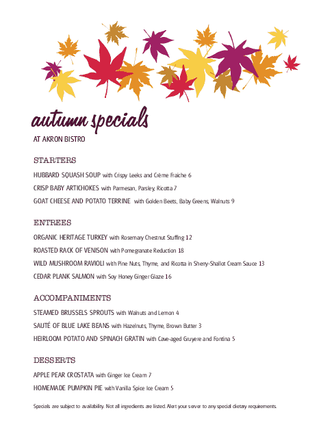 Customize Autumn Menu Specials