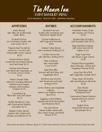caterers menu samples