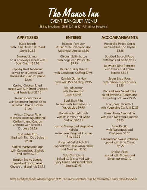 Customize Banquet Menu