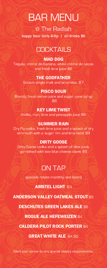 bar drinks menu