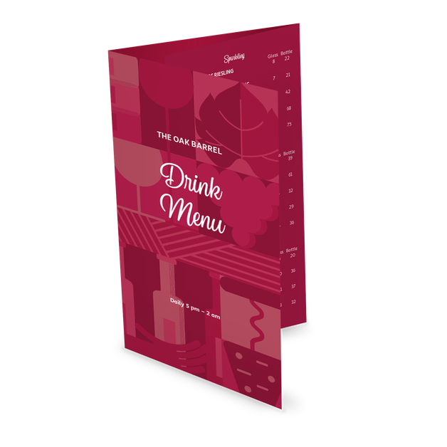 Customize Bar Drinks Folded Menu