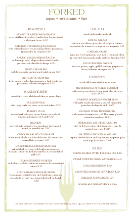 Customize Bar Restaurant Menu Long