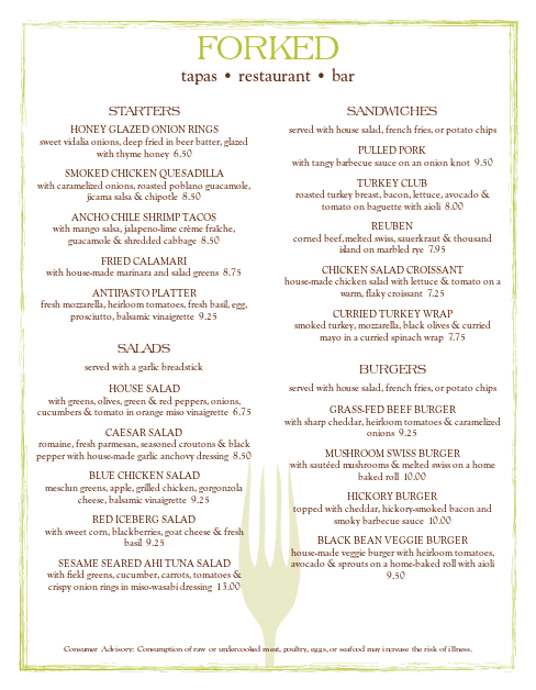 Customize Bar Restaurant Menu