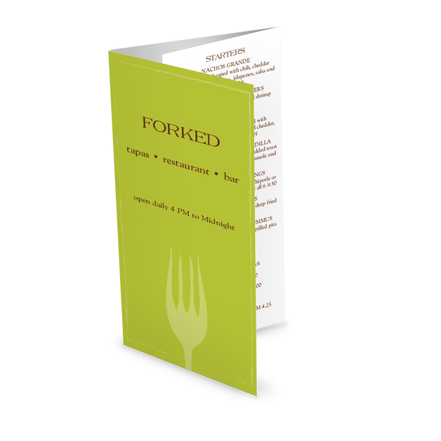 Customize Bar Restaurant Takeaway Menu