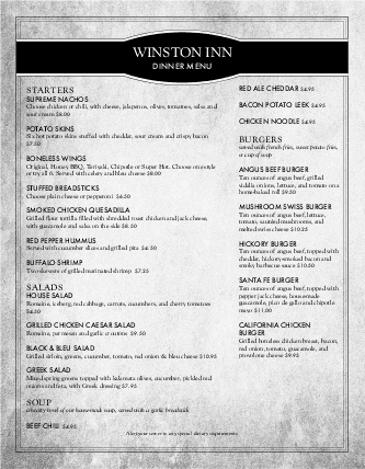 Customize Bar Specials Menu