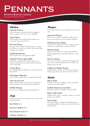 Customize A4 Baseball Sports Menu