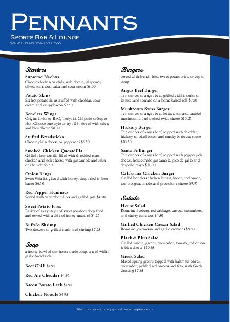 Customize A4 Blue Baseball Menu