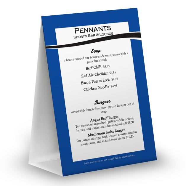 Customize Baseball Blue Table Tent Menu