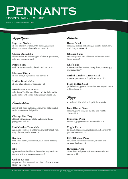 Customize A4 Green Baseball Menu