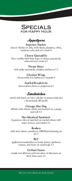 Customize Baseball Happy Hour Menu