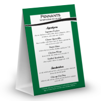 Baseball Green Table Tent Menu