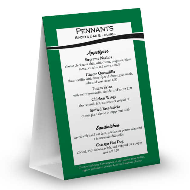 Customize Baseball Green Table Tent Menu