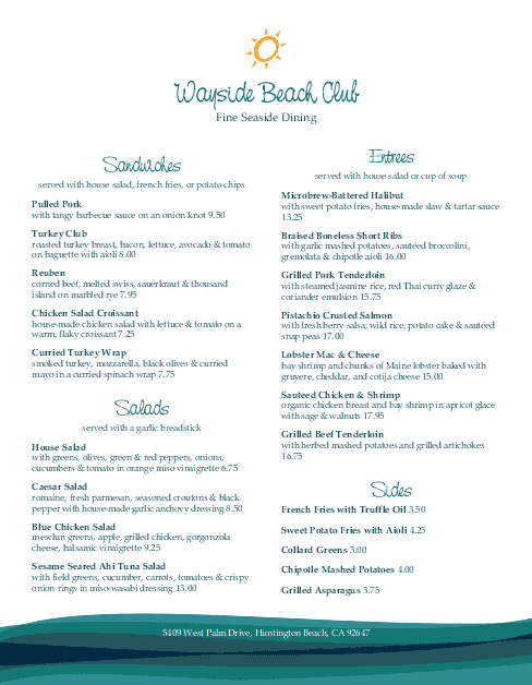 Customize Beach Club Menu