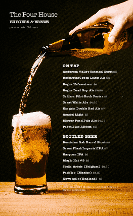 Customize Beer Bar Happy Hour Menu