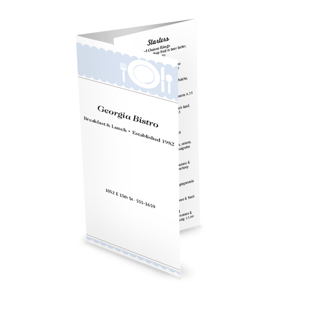 Customize Family Restaurant Trifold Menu