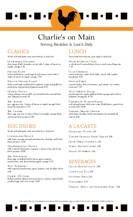 Customize Bistro Breakfast Menu