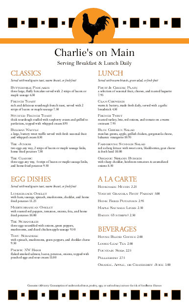 Customize Bistro Breakfast Long Menu