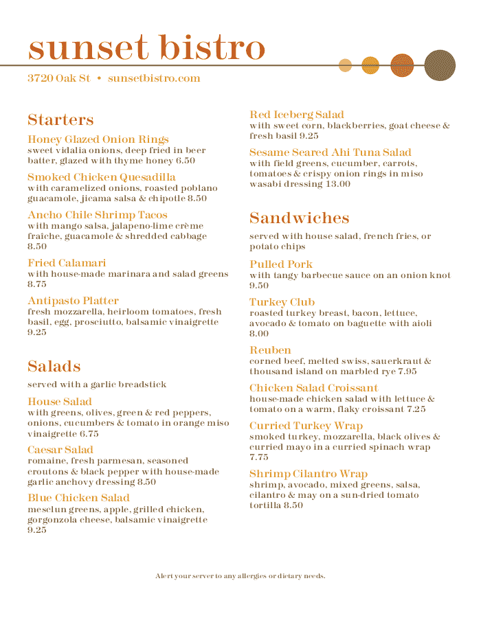 Menu for Box Lunch Catering