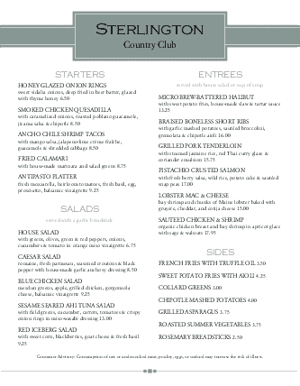 Customize Boat Club Menu