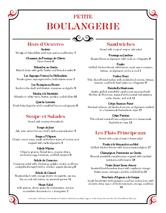 Customize Brasserie Menu