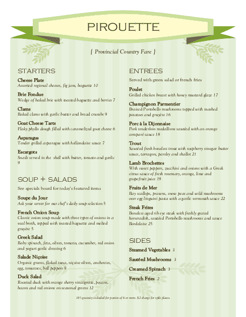 Customize Boulangerie French Menu