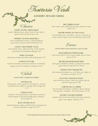 Customize Branch Trattoria Italian Menu