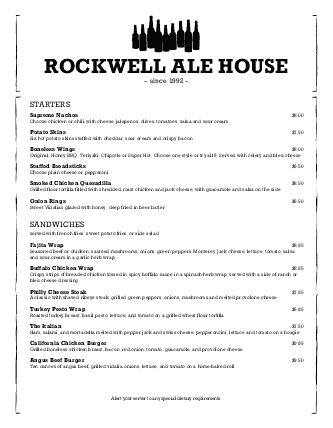 Customize Brew Pub Menu